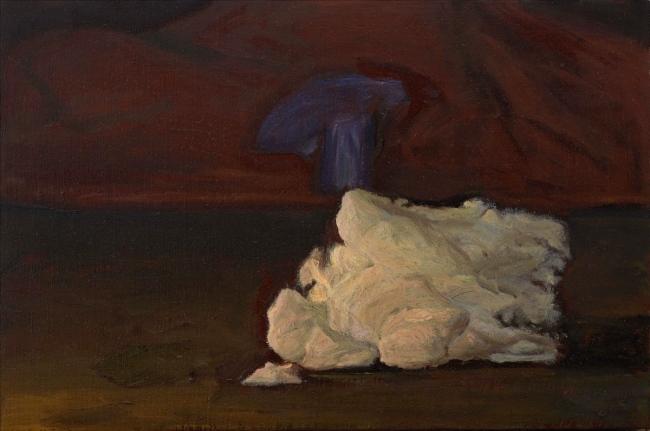 Morgan Bancon. Mont bleu. 27 x 41 cm. Acrílico sobre lienzo — Cortesía de Galería Caicoya art projects