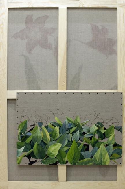 Gabriela Bettini, Glycine max, Óleo sobre lino, 146 x 97 y 55 x 80 cm., 2019 — Cortesía de Tasman Projects