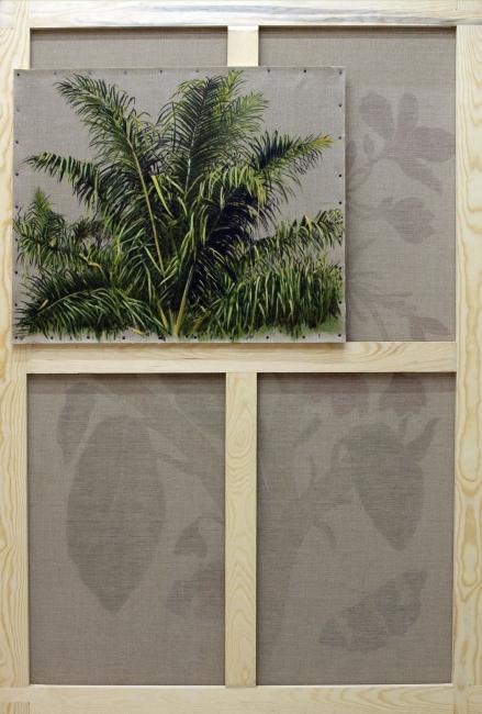 Gabriela Bettini, Elaeis guineensis 2, Óleo sobre lino, 146 x 97 y 55 x 65 cm., 2019 — Cortesía de Tasman Projects