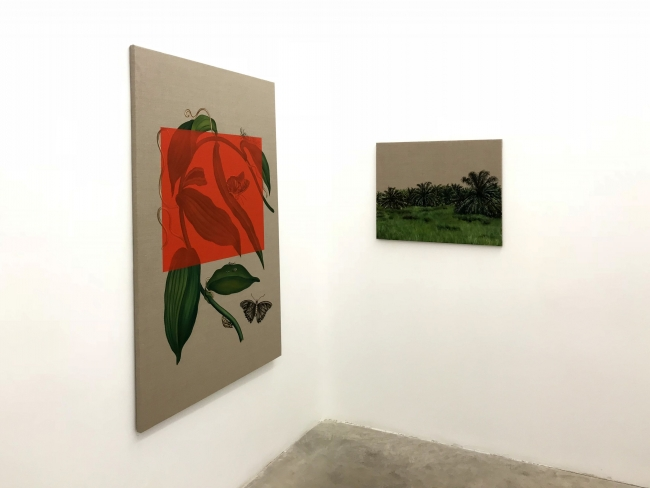 Gabriela Bettini, Elaeis guineensis, O?leo sobre lino 2018, 140 x 90 cm y 55 x 65 cm., 2018 — Cortesía de Tasman Projects