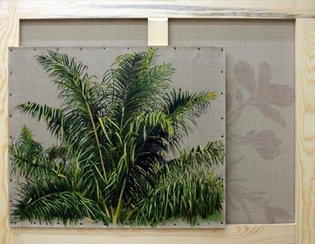 Gabriela Bettini. Detalle de Elaeis guineensis 2, Óleo sobre lino, 2019, 146 x 97 y 55 x 65 cm. — Cortesía de Tasman Projects