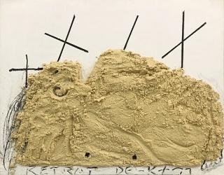 Antoni Tàpies, Retrat de K. Mischtechnik auf Holz, 2002, 114x146 cm. Agustí 7561 [24484] — Cortesía de la Galerie Boisserée
