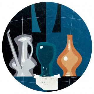 Lluis Ventós. 9. Naturaleza muerta con brida, Oli sobre taula, 52 cm ø. — Cortesía de la Sala Parés