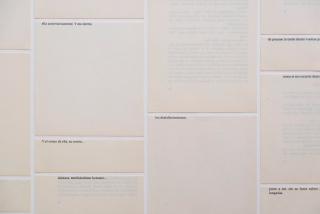 RocioSantaCruz | Mar Arza: Suertes (Sagan), 2020 (detalle). Puntos y aparte, final de capítulo. Tierra de labor de Françoise Sagan. 75,7 x 58,8 cm. — Cortesía de