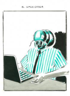 El Roto. El intoxicador. 2020. Dibujo a tinta, acuarela y rotulador. 40,2 x 29,6 cm. 260234 — Cortesía de la Galería La Caja Negra