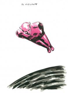El Roto. El vigilante. 2020. Dibujo a tinta, acuarela y rotulador. 40,2 x 29,6 cm. 260263 — Cortesía de la Galería La Caja Negra