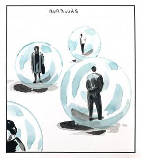 El Roto. Burbujas. 2020. Dibujo a tinta, acuarela y rotulador. 33,9 x 30,5 cm. 260270 — Cortesía de la Galería La Caja Negra