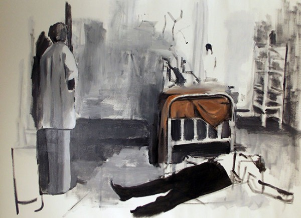 Guilherme Moraes, Bed, 78 x 54 inches, Oil and enamel on canvas