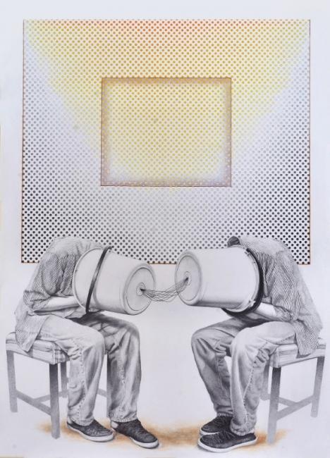 Paulo Vieira, Diálogo. grafite, guache e lápis s/ papel. 150 x 113 cm. — Cortesía de la Galeria Movimento