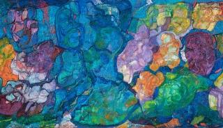 Rafael Balerdi (San Sebastián, 1934 - Alicante, 1992), Gran jardín, 1966-1974. Óleo sobre lienzo, 240 x 571 cm. — Cortesía del Museo de Bellas Artes de Bilbao
