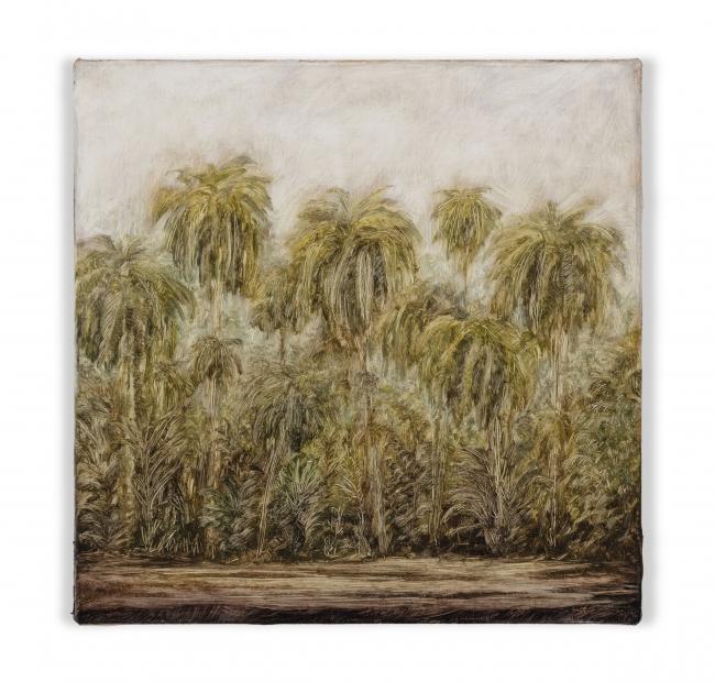 Lucas Arruda, Untitled (from the Deserto-Modelo series), 2019, oil on canvas, 7 7/8 x 7 7/8 in / 20 x 20 cm — Cortesía de Mendes Wood DM