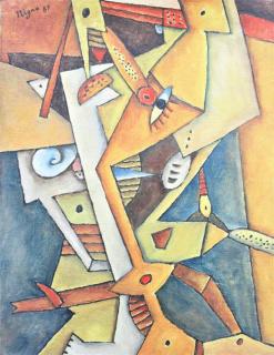 """ADOLFO NIGRO, """"El ojo del agua"""". 1989. Óleo/Tela. 35 x 27 cm. — Cortesía de la Galería Roca"""