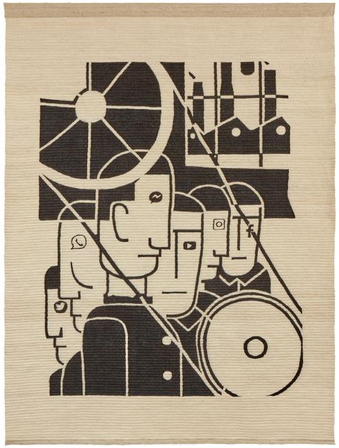 Miguel Aguirre,  Día 10, 2020 (en colaboración con Elvia Paucar). Tejido en lana de oveja 181 x 137 cm. — Cortesía de la Galería Daniel Cuevas