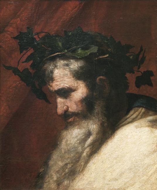Detalle de la cabeza del dios Baco, José de Ribera. Óleo sobre lienzo, 1636 © Museo Nacional del Prado — Cortesía del Museo Nacional del Prado