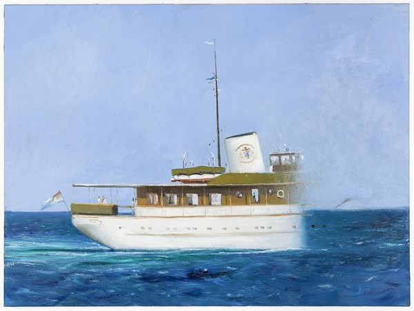 Julio Larraz, The Last Sight of M.Y. Lower Matacumbe, 2011, Oil on canvas, 96.5 x 130.2 cm, AMY#22033