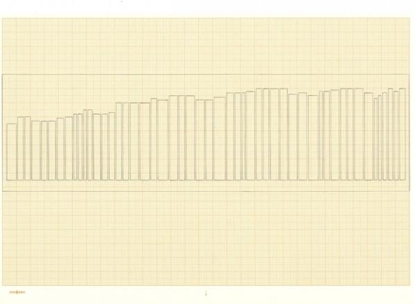 ANTÒNIA DEL RÍO. Assaig lineal 1. Grafit sobre paper milimetrat  21 x 30. 2010