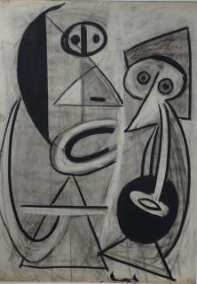 J. FÍN, Miradas, c. 1947. Técnica mixta sobre papel, 68 x 48 cm.