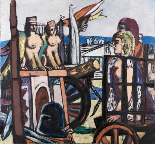 Max Beckmann, El traslado de las esfinges, 1945. Staatliche Kunsthalle — Cortesía del Museo Nacional Thyssen-Bornemisza