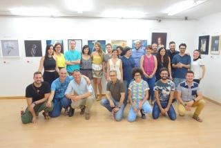 Los artistas con la directora de la galería Sofía Martínez.