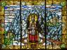 Mare de Déu de Montserrat (Desconegut) - 134x178 cm - Vitrall emplomat. Vidre impres, grisalla, groc d'argent i esmalts — Cortesía del Museu del Modernisme Barcelona