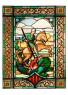 Sant Jordi (Desconegut) - 159,5 x 118 cm - Vitrall emplomat. Vidre imprès, peces emmotllades, grisalla, groc d'argent i esmalts — Cortesía del Museu del Modernisme Barcelona