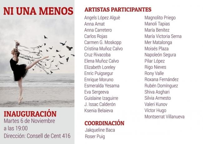 Imágen y listado de artistas participantes ,( NI UNA MENOS)