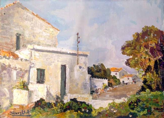 Vives Llull, Casas, óleo sobre tabla, 24x33 cms.