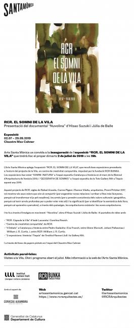 RCR. El somni de la Vila: Invitación