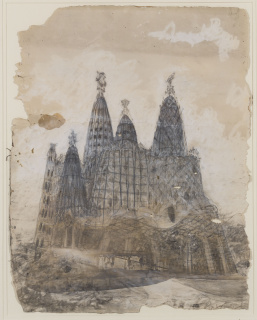 Antoni Gaudí. Vista exterior de la iglesia de la Colonia Güell. Hacia 1908-1910. Museu Nacional d'Art de Catalunya — Cortesía del MNAC