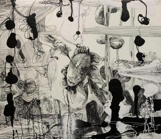 Santi Moix, The Bird, 2019. Técnica mixta sobre papel sobre tela, 174x200 cm. — Cortesía de la Galería Marlborough