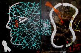 Antón Patiño, Rostro-labirinto, 2007, 200x300 cm. — Cortesía del Centro Galego de Arte Contemporánea (CGAC)