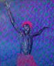 Evans Mbugua - Mon Statut d'Homme Libre - 2020 - 100x100cm - Oil on plexiglass & Photopaper