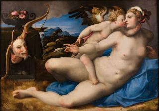 Venus besada por Cupido Hendrik van der Broeck, según Miguel Ángel Óleo sobre tabla, 120 x 195 cm h. 1550-1570 Nápoles, Museo e Real Bosco di Capodimonte — Cortesía del Museo del Prado