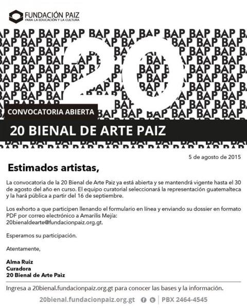 Convocatoria XX Bienal de Arte Paiz