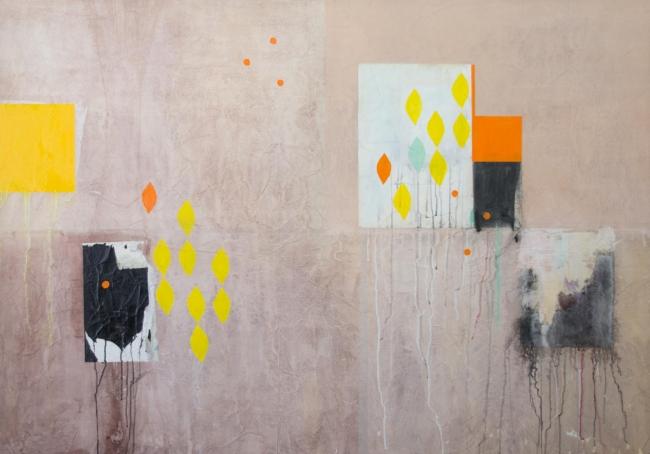 DESDOBRAS. Ayao Okamoto, ''Emaranhamento'', 2010, 140 cm x 200 cm, técnica mista sobre tela. Imagen cortesía Gabinete MATIAS J RIBEIRO