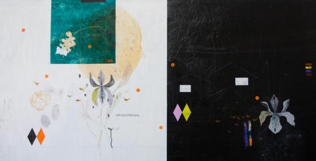 DESDOBRAS. Ayao Okamoto, ''Satori no quintal'', 2016, 90 cm x 180 cm, técnica mista sobre tela. Imagen cortesía Gabinete MATIAS J RIBEIRO