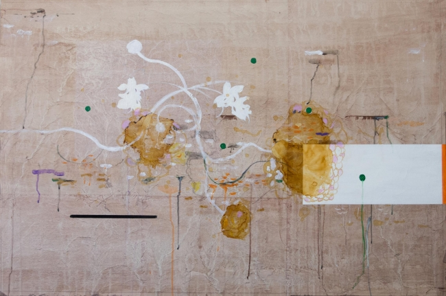 DESDOBRAS. Ayao Okamoto, ''Sutra do girassol'', 2017, 100 cm x 150 cm, técnica mista sobre tela. Imagen cortesía Gabinete MATIAS J RIBEIRO