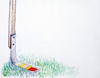 Klaas Vanhee, UNTITLED (CLUB-LIKE FORM WITH WOOD AND FOREX ON A HILL), 2017 Acuarela sobre papel · 29,7 x 40,6 cm. – Cortesía de la Galería Silvestre