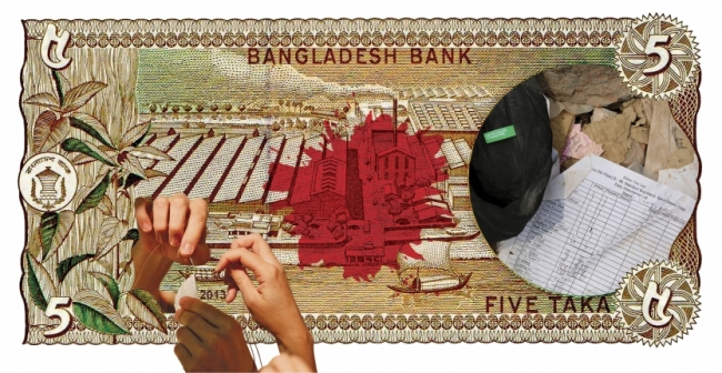 """""""Puntadas de moda."""" — De la serie """"Fashion made in Bangladesh"""". Collage digital. 36"""" x 18.5"""". 2013. Cortesía de Elías Adasme"""