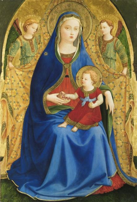 Virgen con el Niño y dos ángeles o Madonna de la granada Guido di Pietro, llamado Fra Angélico (Mugello, 1390-Roma, 1455) Témpera sobre tabla, 83 x 59 cm c. 1426 Museo Nacional del Prado — Cortesía del Museo del Prado