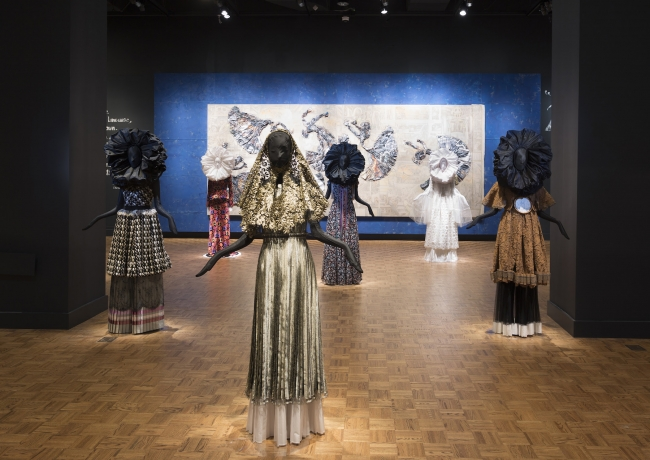 Installation view of Ruben and Isabel Toledo: Labor of Love at The Detroit Institute of Arts, 2019.  Courtesy of the artists and the Toledo Studio.