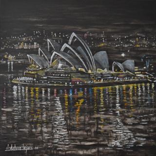 """ARTURO TEJERO. Título: """"Reflejos de Sidney"""". Oleo sobre Lienzo. 50x50 cm."""