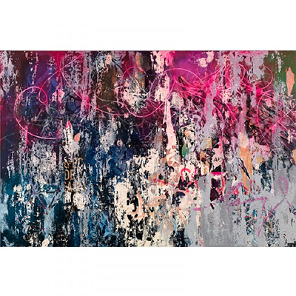 José Parlá; Born 1973, Miami, FL; Blooming City Marks, 2014; Acrylic, ink, plaster and enamel on canvas; Support: 72 x 108 inches inches (182.88 x 274.32 cm); Collection Albright-Knox Art Gallery, Buffalo, New York; Gift of Mrs. Georgia M. G. Forman, by e
