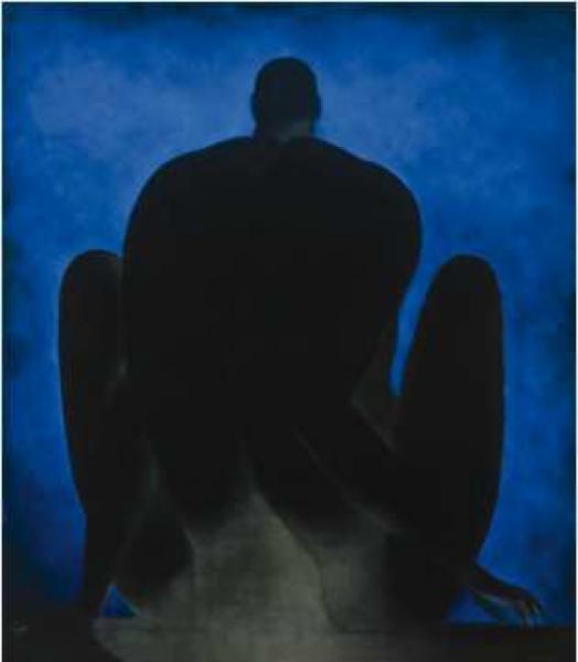 Ricardo Martínez de Hoyos, Figure with Blue Background (Figura con fondo azul), 1985. Oil on canvas. 200 x 175 cm. Colección Pérez Simón, Mexico. Photo credit: ©Arturo Piera