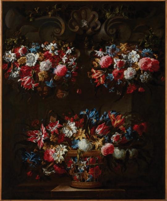 Juan de Arellano. Bodegón de flores, ca. 1650 – 1660. Óleo sobre lienzo, 122 x 101 cm. Colección Banco Santander — Cortesía del Museo ABC