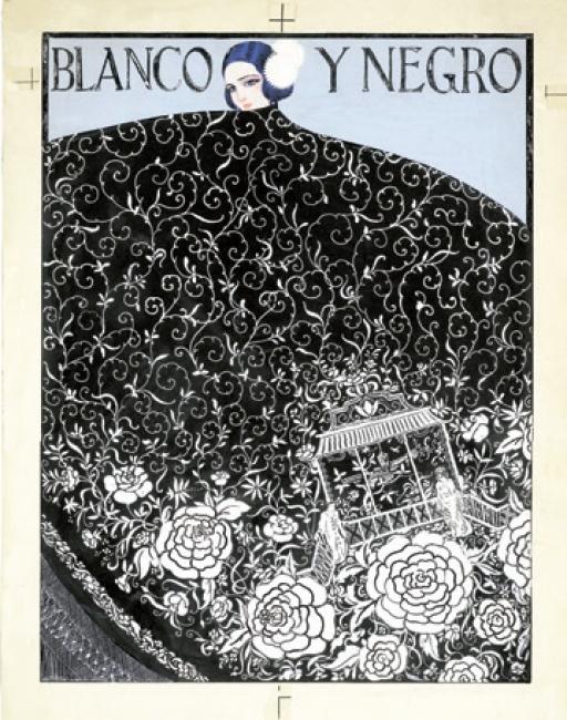 Manuel Escudero. Luciendo el mantón. Blanco y Negro, núm. 1.734, 10 de agosto de 1924. Tinta y gouache sobre cartón, 498 x 350 mm. Museo ABC — Cortesía del Museo ABC