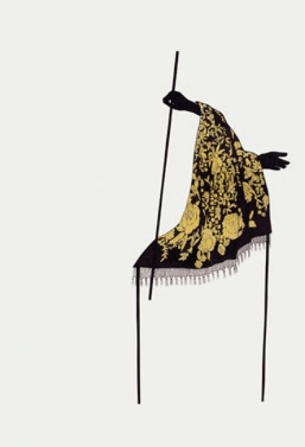 Estefanía Martín Sáez. Polilla, mantón y pájaro II, 2018. Collage de tinta y grafito sobre papel, 480 x 340 mm. Colección de la artista — Cortesía del Museo ABC