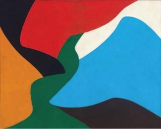"""Equipo 57: PA 1.  Óleo / lienzo 73 x 91,5 cm.  Firmado, titulado y fechado """"8-59"""" al dorso y dedicado a Madame Simon"""