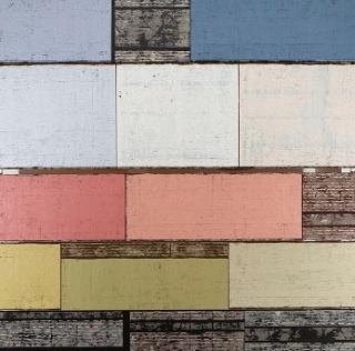 """Enrique Brinkmann. """"Archivo de tablas cromáticas con información"""", 2019. Óleo y pigmento sobre contrachapado, 265 x 244 cm."""