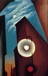 Georgia O'Keeffe. Calle de Nueva York con luna (detalle), 1925. Museo Nacional Thyssen-Bornemisza — Cortesía del Museo Nacional Thyssen-Bornemisza